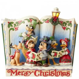 "Mickey Minnie Pluto Goffy Donald & Daisy ""Merry Christmas"" Storybook Jim Shore 6002840"