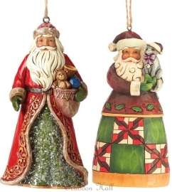Set van 2 Hanging ornaments  Victorian Santa ,  Santa with Cat 4047682 Jim Shore 4047785