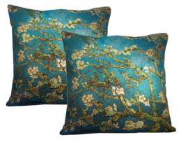 """Vincent van Gogh - Set van 2 Kussen 48x48cm Gobelin Geweven """"Amandelbloesem"""""""