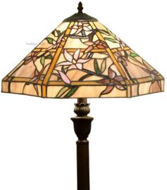 T047M V466 Vloerlamp H156cm met Tiffany kap Ø42cm Clematis