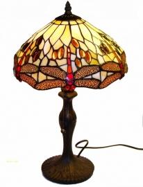 1100 9318 Tafellamp Tiffany H48cm Ø30cm Beige Dragonfly
