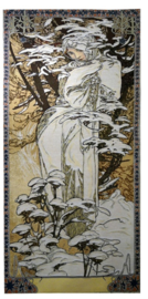 "Alphonse Mucha ""Winter"" Wandkleed 110x46cm Gobelin Geweven"