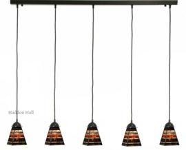 8117 Balk B130cm met 5 Tiffany kappen 13x13cm Industrial