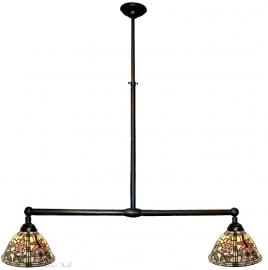 9111 Hanglamp B90cm met 2 Tiffany kapjes Ø26cm  Garden Dragonfly