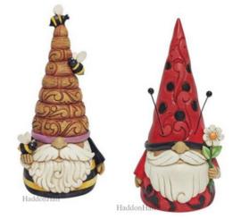 Gnome with Bees & Ladybug Gnome - Set van 2 Jim Shore beelden