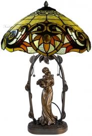 5769 5777 Tafellamp Jugendstil H62cm met Tiffany kap Ø42cm Pendragon