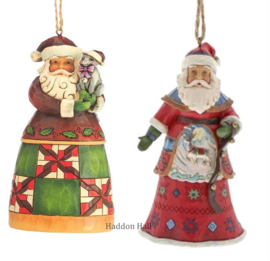 Set van 2 Jim Shore Hanging ornament Santa with Cat - Lapland Santa