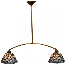 5826 Hanglamp B110cm met 2 Tiffany kappen Ø26cm Marta
