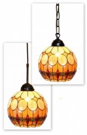 5316 Hanglamp Tiffany Ø27cm Ketting of  Textielsnoer Bolvorm Victoria