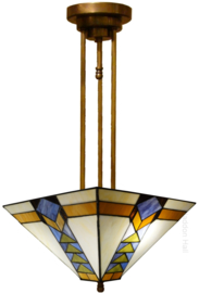 7855 Hanglamp met Tiffany kap 37x37cm Pyramide