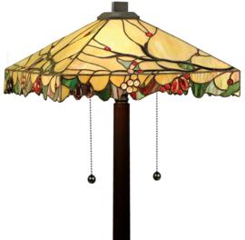 T061 7884 Vloerlamp Bruin H159cm met Tiffany kap 42x42cm Arbois