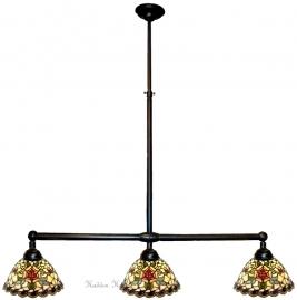 9114 Hanglamp B90cm met 3 Tiffany kappen Ø25cm