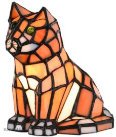 6166 Tiffany lamp H16cm Orange Cat