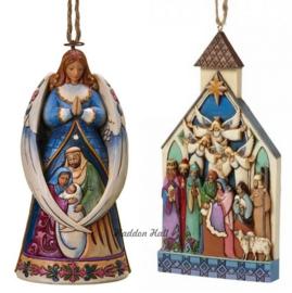 Set v. 2 Hanging ornaments  Angel Wings & Nativity Church Jim Shore 4023470