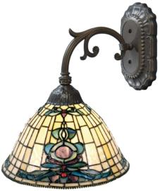 9004 Wandlamp Grijs met Tiffany kap Ø26cm Blue Oyster
