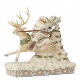 On Course For Christmas B21cm Santa Riding Reindeer Jim Shore 6006579