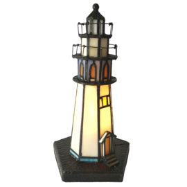 6053 Tiffany lamp H28cm Vuurtoren