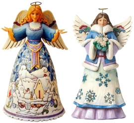 "Set van 2 Engelen H25cm ""Winter`s Wonders""&""May Blessings Fall Upon You"" Jim Shore"
