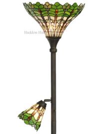 5977 Vloerlamp H188cm met 2 Tiffany kappen Ø36cm & Ø15cm