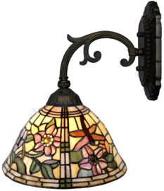 9111 Wandlamp Grijs met Tiffany kap Ø26cm Garden Dragonfly
