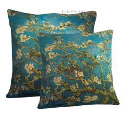 """Vincent van Gogh -Set van 2  Kussen 48x48cm & 36x36cm Gobelin Geweven """"Amandelbloesem"""""""