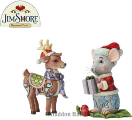 Christmas Reindeer & Mouse - Set van 2 Mini Figurines H9cm Jim Shore