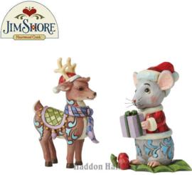 Christmas Reindeer & Mouse - Set van 2 Mini Figurines H9cm Jim Shore