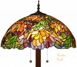 9131 9454 Vloerlamp Tiffany  Ø50cm Autumnleaf   Ronde voet