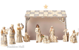 We Adore Him H24cm White Woodland Nativity 8-delig Jim Shore Kerstgroep Kerststal 4053690