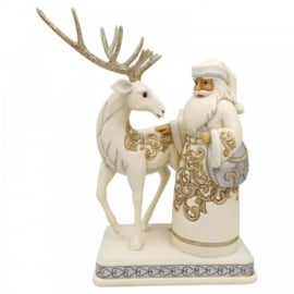 Silver-Gold Santa with Reindeer H25cm Jim Shore 6006615