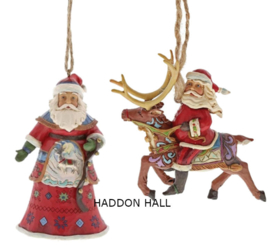"Set van 2 Santa's Hanging Ornament ""Lapland with Bells""& ""Riding Reindeer"""