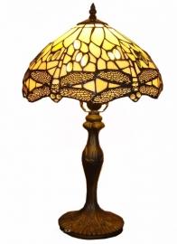 "5638 9318 Tafellamp Tiffany H48cm Ø30cm  Libelle motief ""Creme-Wit"""