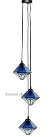 8113 Hanglamp Textielsnoer met 3 Tiffany kappen Ø20cm Akira Blue