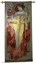 "Alphonse Mucha ""Herfst""  Wandkleed + Stang 150x68cm Gobelin Geweven"