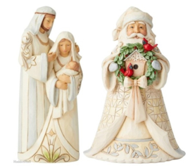 White Woodland Holy Family & Santa with Wreath H18cm Jim Shore