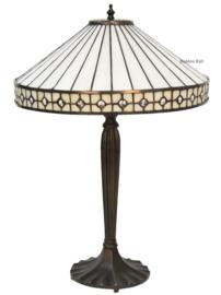 5984 Tafellamp Zwart H58cm met Tiffany kap Ø40cm White Diamond