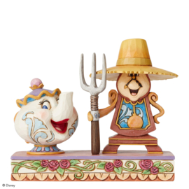 "Belle - Mrs. Potts & Cogsworth ""Workin'Round the Clock"" H13cm Jim Shore 6002813"