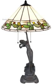 5719 Tafellamp Jugendstil Dame H66cm met Tiffany kap Ø42cm Herba