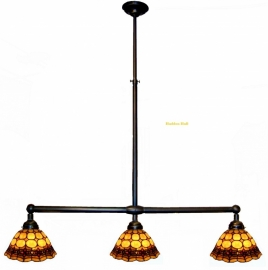 8828 Hanglamp B90cm met 3 Tiffany kappen Ø26cm Victoria