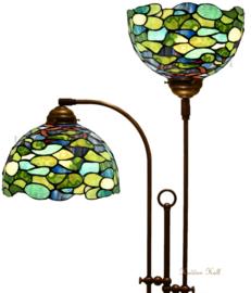 8124 Vloerlamp met 2 Tiffany kappen Ø25cm Hortensia