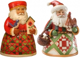 "Set van 2 Pint Santa's H13cm ""Cozy Christmas""&""A Christmas to Crow About""Jim Shore"