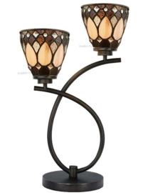 73092 Tafellamp Uplight H55cm met 2 Tiffany kappen Ø13cm Brooklyn