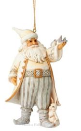 """White Woodland Santa's"" H12cm Set van 2 Jim Shore Hanging Ornaments"