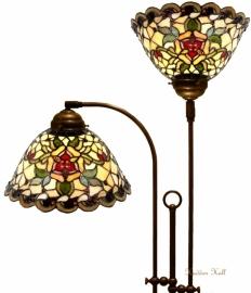 9114 Vloerlamp Half Rond met 2 Tiffany kappen Ø26cm