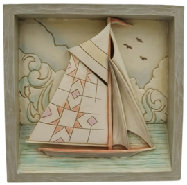 Plaque Coastal Sailboat 16x16cm - Jim Shore 6009343