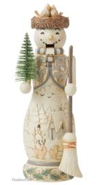 White Woodland Snowman Nutcracker H26,5cm Jim Shore 6008863