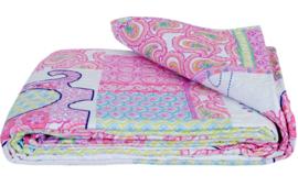 Kinderbedsprei Q167 Clayre & Eef 140x220 cm patchwork-style beddesprei voor kinderen