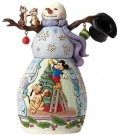 "MICKEY & PLUTO ""Mischief and Merriment"" Snowman H18cm Jim Shore 4046019"
