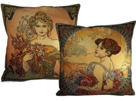 "Alphonse Mucha Set van 2 Kussens 48x48cm ""Lente & Zomer"" Gobelin geweven"