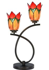 7908 Tafellamp Uplight H58cm met 2 Tiffany kappen Ø15cm Lovely Flower